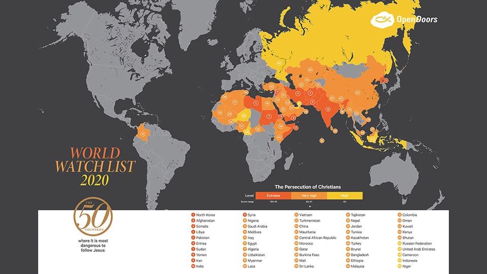 2020 World Watch List Map