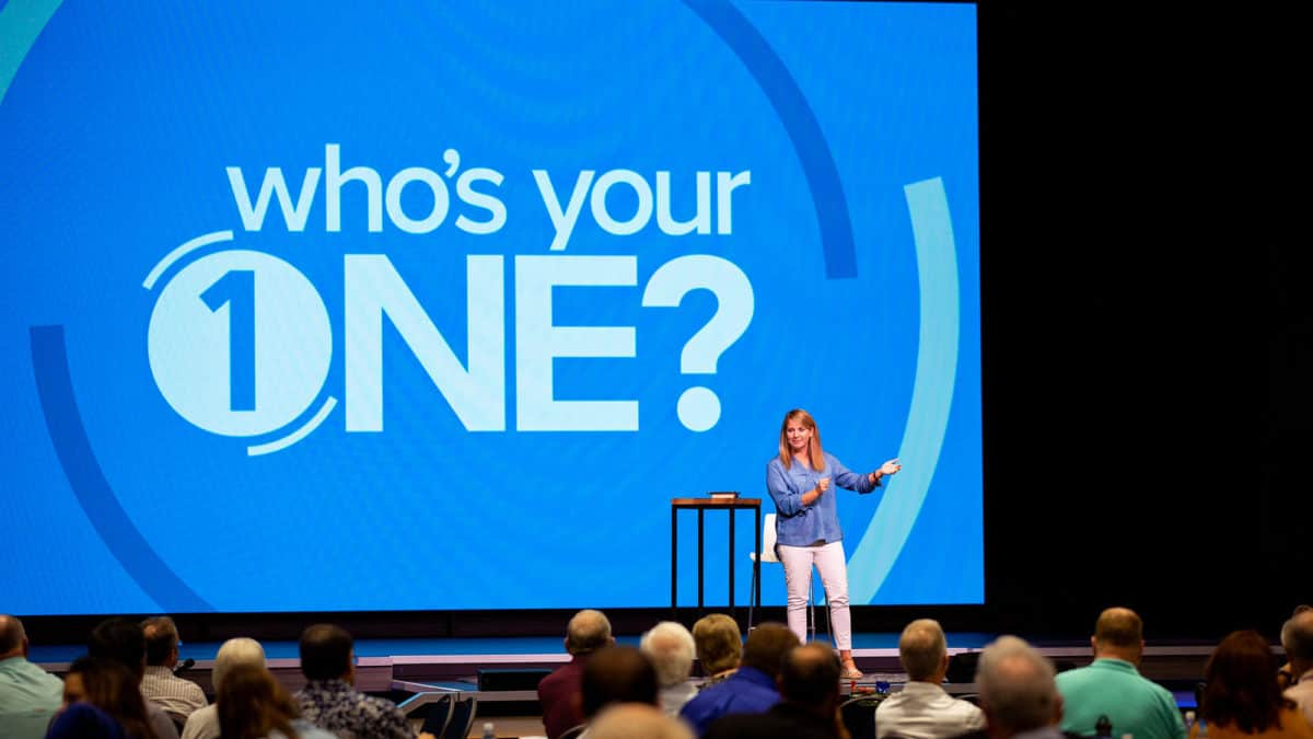 Catherine Renfro, A Marketing Consultant In Evangelism At The North American Mission Board (NAMB), Shares Practical Evangelism Experience At Who's Your One Tour Locations. Here, She Addresses The Audience During The Stop At Prestonwood Baptist Church In Dallas