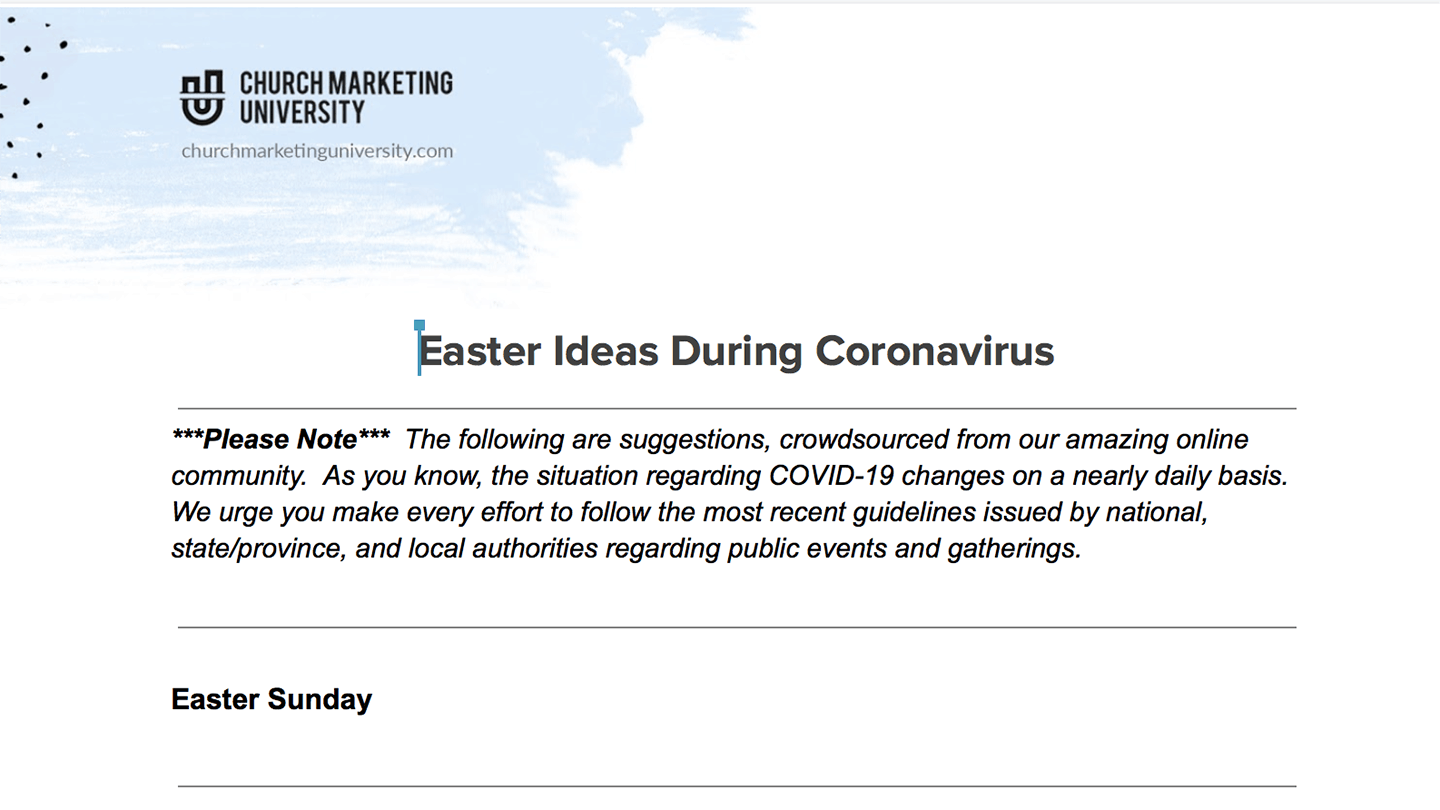 Document With Easter Ideas