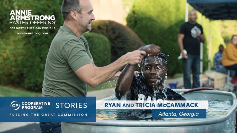 Pastor Ryan McCammack Baptizing In Outdoor Portable Baptistry