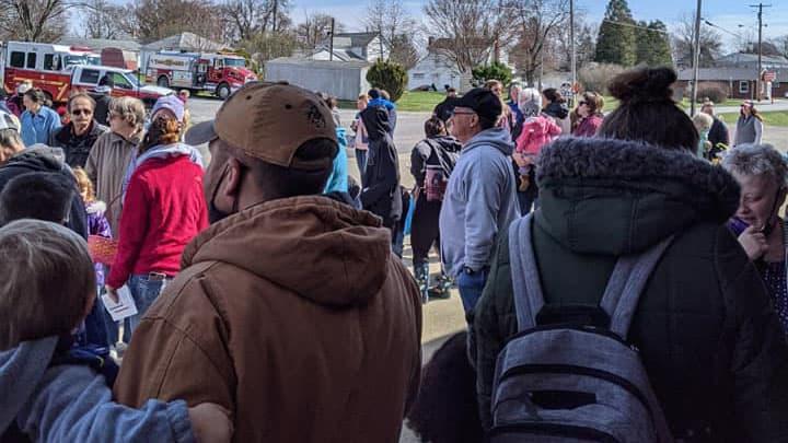 Crowd Of Families At Harvest's Easter Egg Hunt