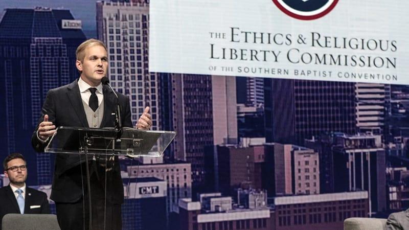 Acting ERLC President Daniel Patterson Addressing 2021 SBC Annual Meeting.